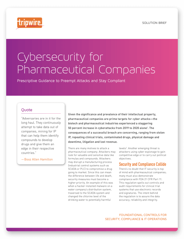 Cybersecurity for Pharmaceutical Companies Solution Brief